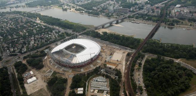 Budowa Stadionu Narodowego w Warszawie. Zdjęcie z dnia 16 czerwca 2011 roku