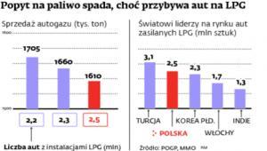 Popyt na paliwo spada, choć przybywa aut na LGP