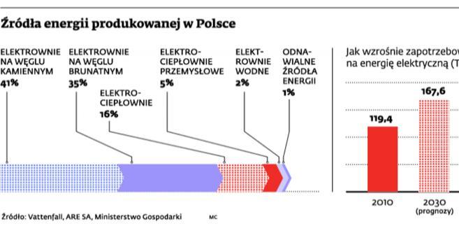 Źródła energii produkowanej w Polsce