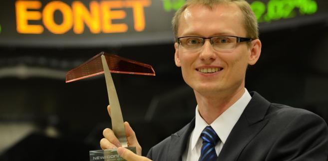 Prezes zarządu Stefan Batory podczas debiutu eo Networks SA na rynku NewConnect warszawskiej Giełdy Papierów Wartościowych.