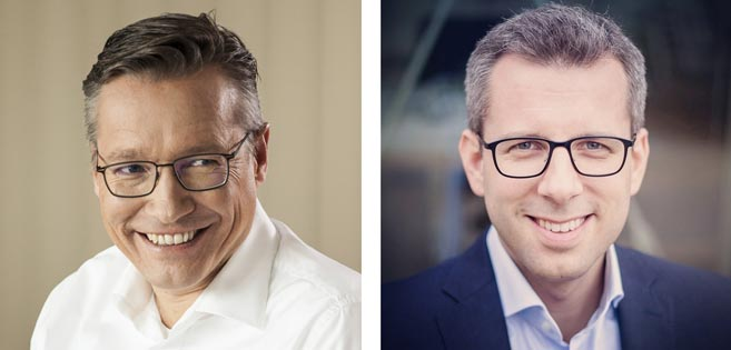 Od lewej: Paul van Arkel – Dyrektor Zarządzający Novartis ; Piotr Langer – Dyrektor ds. HR Novartis