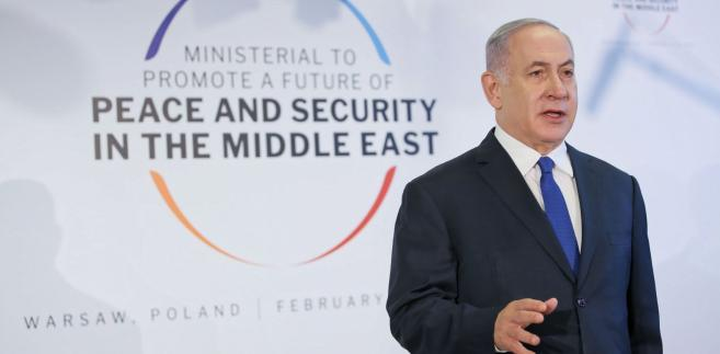 Premier Benjamin Netanjahu podczas konferencji bliskowschodniej w Warszawie