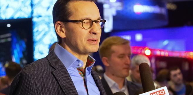 Premier Mateusz Morawiecki podczas finału Mistrzostw Świata w Grach Komputerowych Intel Extreme Masters w Katowicach