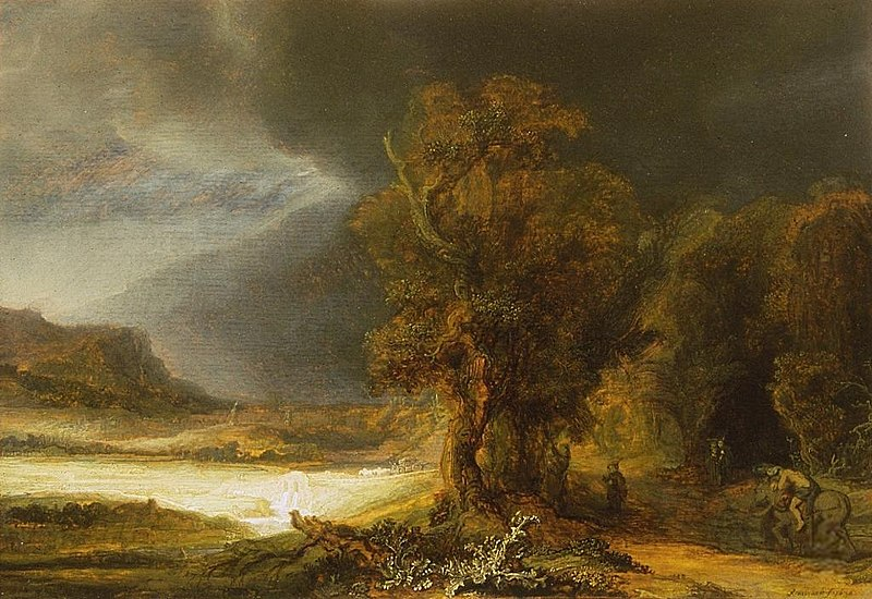 "Rembrandt van Rijn ""Krajobraz z miłosiernym Samarytaninem"" (1638 r.)"