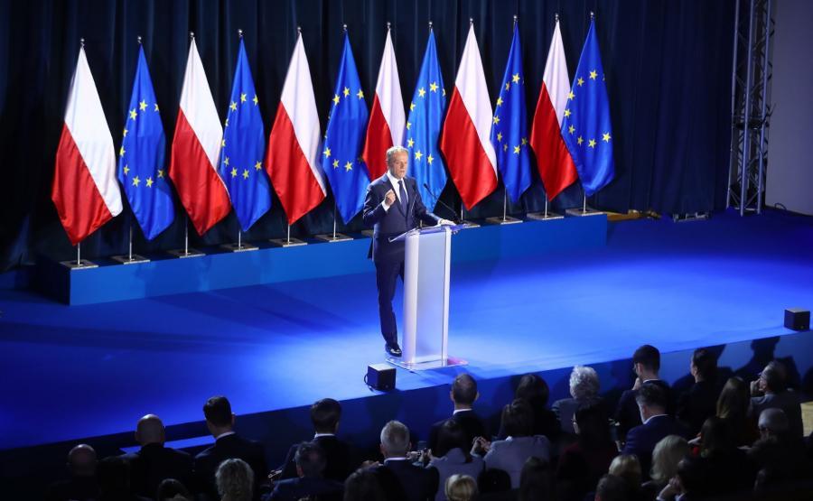 Donald Tusk podczas wystąpienia