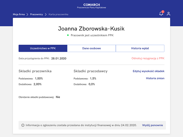 Formularz pracownika pozwalający rejestrować procentową wysokość składek na PPK