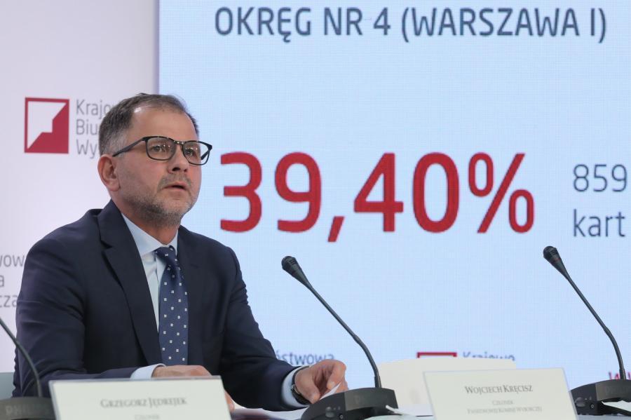 Członek PKW Wojciech Kręcisz podczas trzeciej konferencji PKW