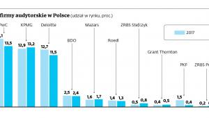 Największe firmy audytorskie w Polsce (udział w rynku, proc.)