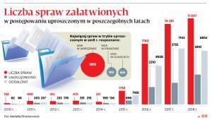 Liczba spraw załatwionych w postępowaniu uproszczonym w poszczególnych latach