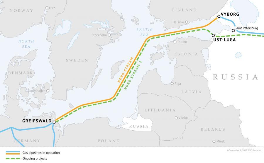 Nord Stream 2 - mapa