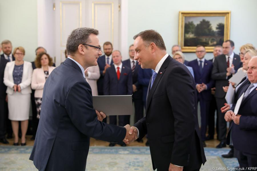 Andrzej Duda i Krzysztof Jedlak podczas powołania członków kapituły Nagrody Gospodarczej