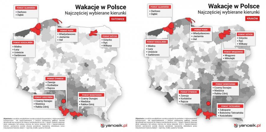 Gdzie najczęściej spędzają wakacje mieszkańcy Katowic i Krakowa