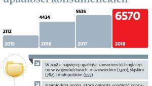 Liczba ogłoszonych upadłości konsumenckich