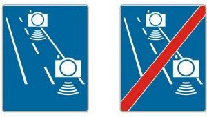 Znak - odcinkowy pomiar prędkości, źródło - Ministerstwo Infrastruktury
