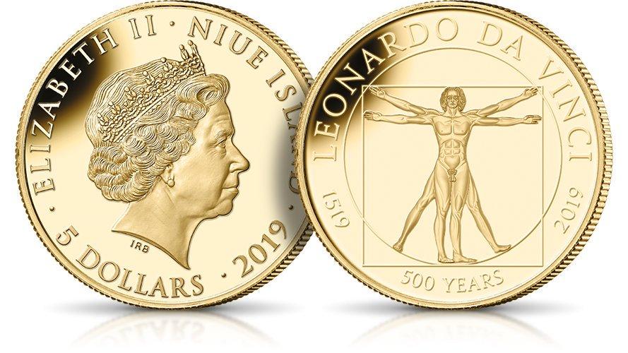Człowiek witruwianski Leonarda da Vinci na monecie