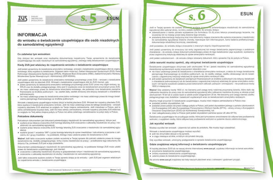Jak wypełnić wniosek o świadczenie uzupełniające dla osób niezdolnych do samodzielnej egzystencji str.5-6