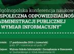"""Konferencja """"Społeczna odpowiedzialność administracji publicznej – wymiar informacyjny"""" już 17 października"""