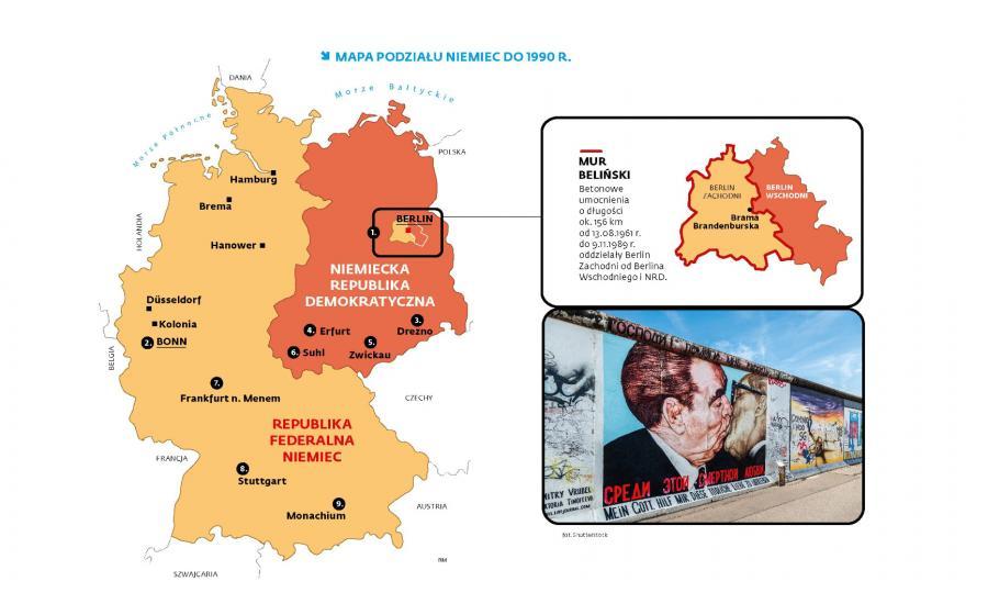 Mapa podziału Niemiec do 1990 r