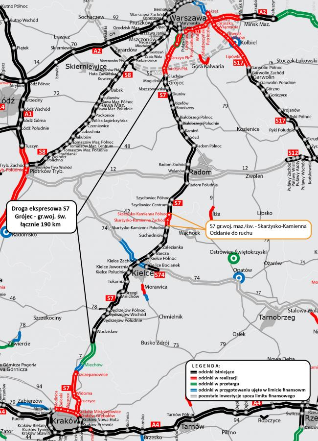 Droga ekspresowa S7: Grójec - gr. województwa świętokrzyskiego, źródło: GDDKiA