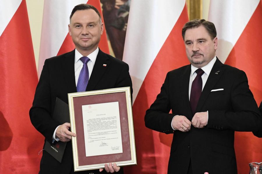 Prezydent Andrzej Duda i szef NSZZ Solidarność Piotr Duda