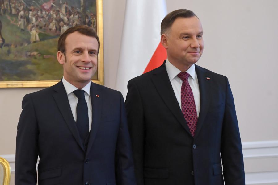 Prezydent RP Andrzej Duda oraz prezydent Francji Emmanuel Macron