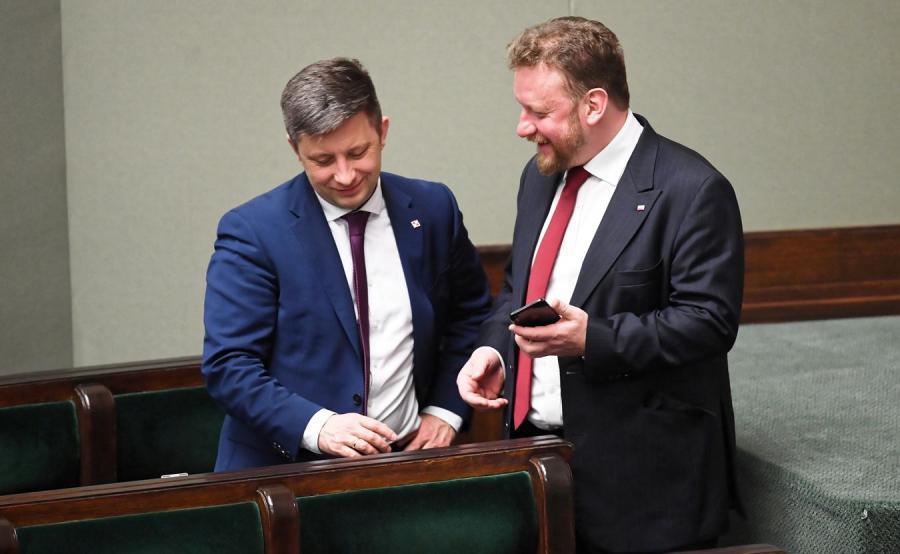 Minister zdrowia Łukasz Szumowski i Michał Dworczyk