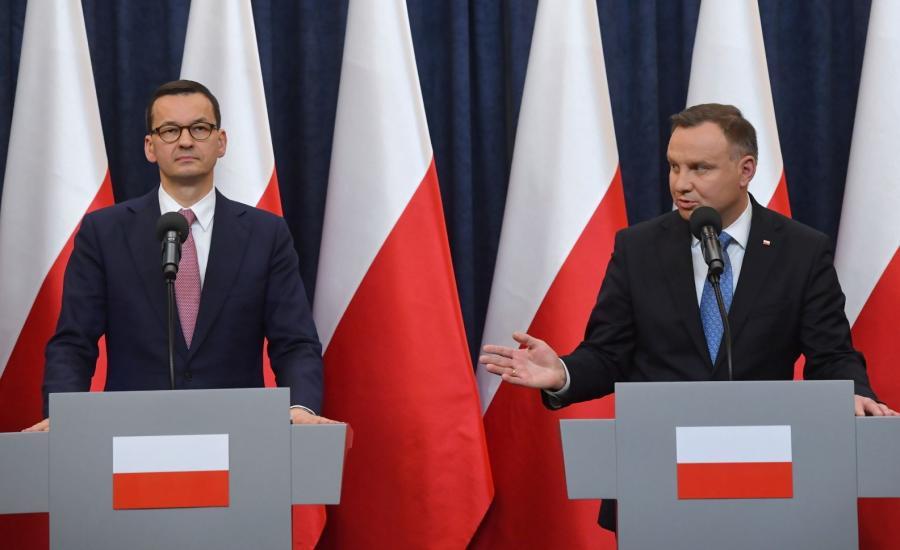 Prezydent Andrzej Duda oraz premier Mateusz Morawiecki