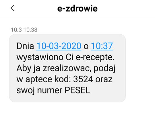 Wygląd przykładowej e-recepty w SMS-ie