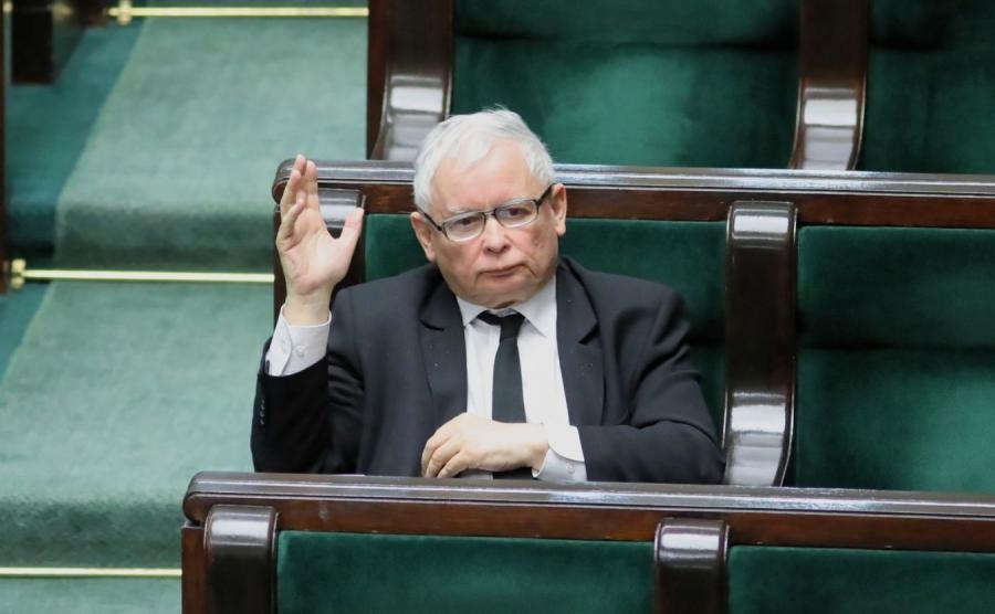 Jarosław Kaczyński na posiedzeniu