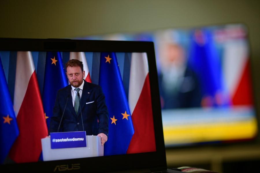 Minister zdrowia Łukasz Szumowski. Konferencja prasowa