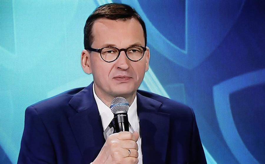 Premier Mateusz Morawiecki podczas transmisji konferencji